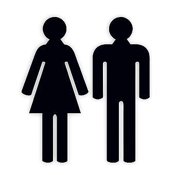 Nero Acrilico Maschio & Femminile Toilette WC Porta Segni in