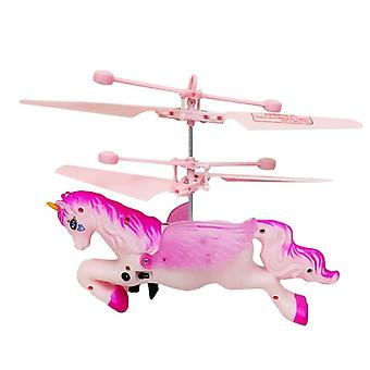 Children Rechargeable Hand Flying Led Remote Control Pink (as Show)
