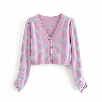 Heart Two Pieces Set Lilac V Neck Camisole And Long Sleeve Cardigan