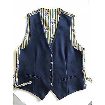CLAUDIO LUGLI Navy Waistcoat With Skulls And Stripes Outer Lining