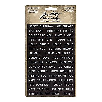 Idea-ology Tim Holtz Label Stickers Sentiments