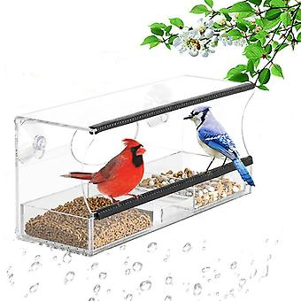 Fenêtre Bird Feeder Acrylique Table Hanging Feeder Station W / Dry Seed Tray