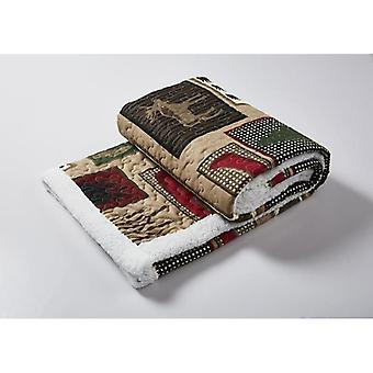 Spura Home Pictorial Lake Living Primitive Quilted Sherpa Throw