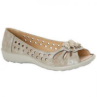 Boulevard Lola Ladies Open Toe Shoes Light Gold Shimmer