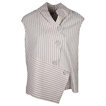 Crea Concept Cream Striped Asymmetric Design Linen Blend Sleeveless Waistcoat Style Top