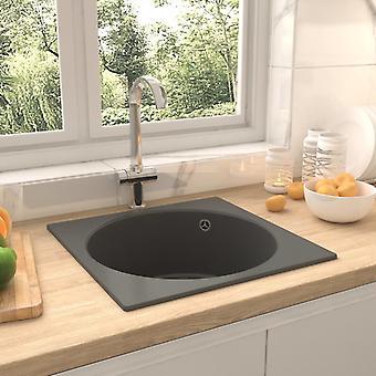 vidaXL kitchen sink with overflow grey granite