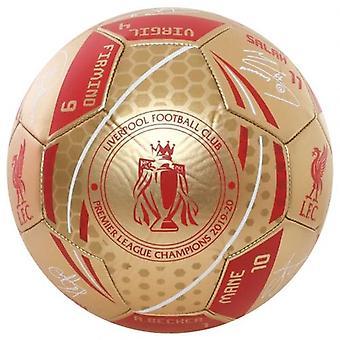 Liverpool Premier League Champions Gold Signature Football