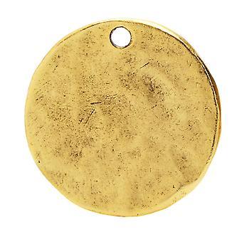 Nunn Design Flat Tag, Hammered Circle 20.5mm, 1 pièce, Or antique