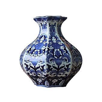 Modern Ceramic Blue and White  Flower Vase for Sale