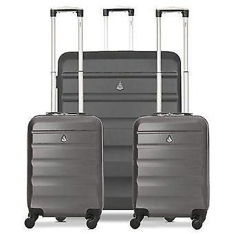 Aerolite hard shell valise valise bagage pack de voyage (2 x bagages à main cabine - 1 x grande valise à bagages de soute)