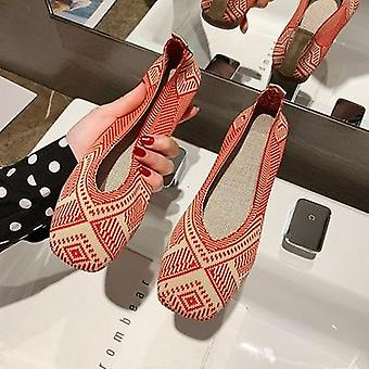 Spring Ballet Flats Women Square Toe Knit Fabric Loafers