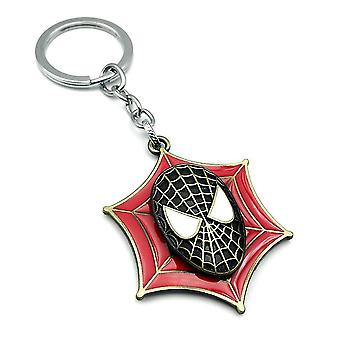 Spider-man Mask Sign Rotatable Keychain Key Ring Alloy Car Pendant