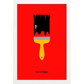 JUNIQE Print - Paint It Black - Rock Poster in Rood & Zwart