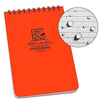 "Rite in the Rain Universal Notebook, Top Spiral Bound, 4"" x 6""  (50 Sheets) Orange"