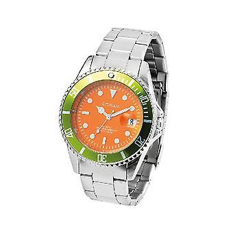 Kvarts armbåndsur, orange farve i metal, glas, stål, L6xP6xA1,6 cm
