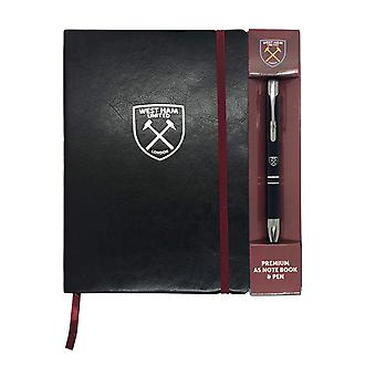 West Ham United Notebook & Pen A5 Executive Premium OFFICIAL Football Gift