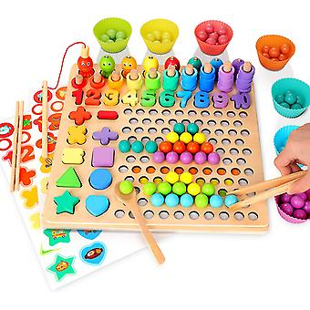 Wooden Peg Board Number Puzzle Montessori Toy Magnetic Fishing Game
