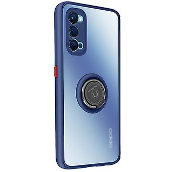 Cover Oppo Reno 4 Bi-material Metal Ring Function Support blue
