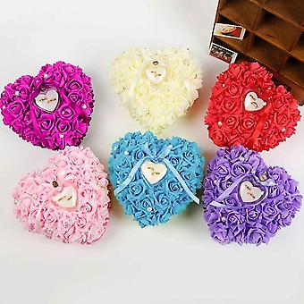 Romantic Rose Wedding Favors Heart Shaped Gift Ring Box Pillow Decoration