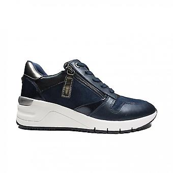 Tamaris 23702 890 Navy Combi Leather Womens Lace/Zip Up Casual Trainers