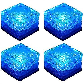 Luces solares de hielo, luces de hielo de vidrio Solar Brick Led Frosted Glass Path Lights Impermeables 4-pack (Azul)