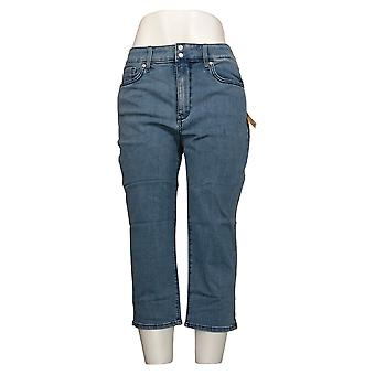 NYDJ Petite Jeans Skinny Crop de mujer con rendijas laterales azul A377691