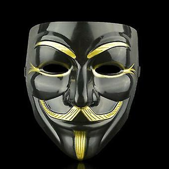 (Zwart & Eyeliner) Anonieme Hacker V Vendetta Guy Fawkes Fancy Gezichtsmasker Cosplay Rekwisieten Kostuums