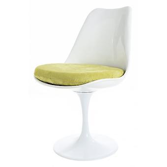 Fusion Living glansig vit och grön lyxig svängbar sidostol