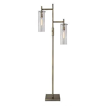 Two Light Modern Floor Lamp Clear Glass Cylinder Shade with Vintage Filament Bulb Antique Brass Metal Pole
