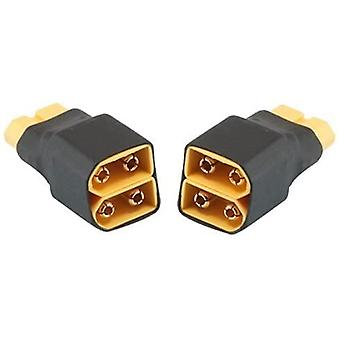 2 Parts parallel connector xt60 without cable for rc lipo battery (1 female connector xt60 with 2 male connectors xt60)