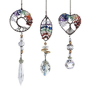 3pcs Suncatcher krystall hengende anheng håndlaget vindu ornament