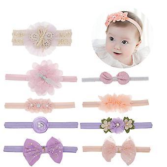 Baby Girls Hair Band , 9 Pcs Soft Headband , Flower Newborn Hair Band