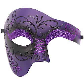 Pvc Cosplay Mask Plastic Half Face Punk Carnival Men's/women's Accessories-two-color Purple