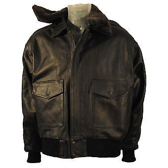 A2 皮革空气力轰炸机夹克毛皮衣领