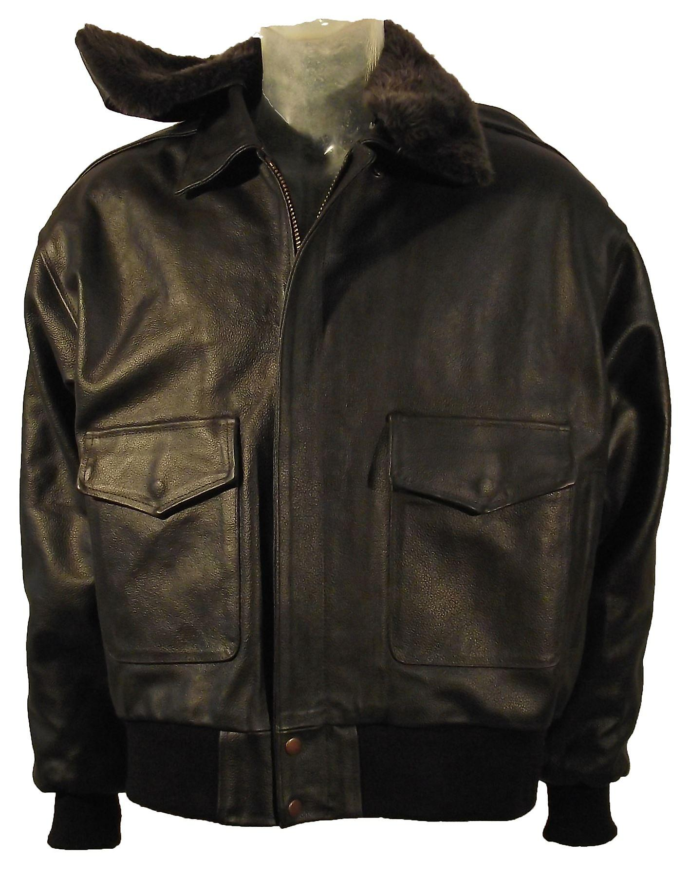 A2 Leather Air-Force Bomber Jacket Fur Collar