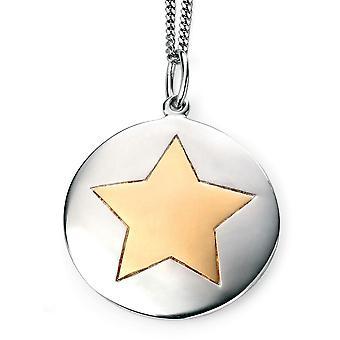 925 zilveren modieuze ster goud vergulde ketting