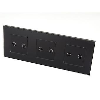 I LumoS lyx svart glas ram & svart infoga Touch kontrollerad LED-ljus strömställare