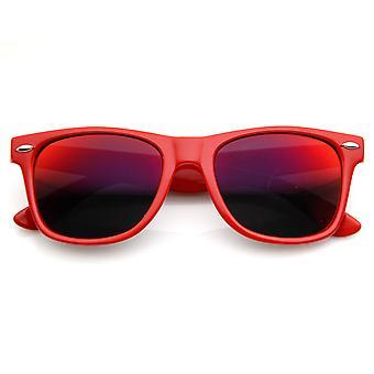 Retro heldere hoorn omrande zonnebril met kleurrijke gespiegelde lenzen - UV400