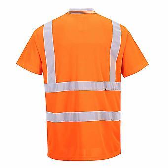 Portwest - Hi-Vis Safety Workwear Short Sleeved Polo Rail Track Side RIS