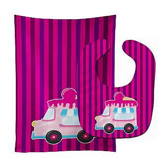 Carolines Treasures  BB9059STBU Ice Cream Truck Pink Baby Bib & Burp Cloth