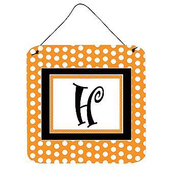 الحرف H مونوغرام الأولية-أورانج بولكادوتس الجدار أو الباب معلقة يطبع