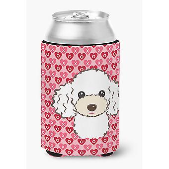 Carolines Treasures  BB5327CC White Poodle Hearts Can or Bottle Hugger