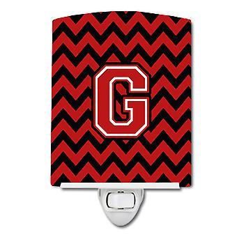 Буква G Шеврон черный и красный керамический ночной свет