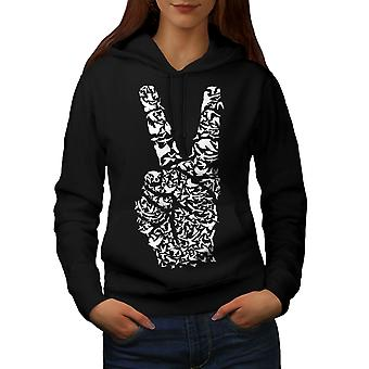 Peace Sign Hand Animal Women BlackHoodie | Wellcoda