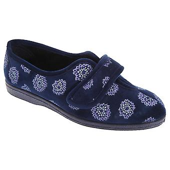 Sleepers Womens/Ladies Ivy Floral V Throat Touch Fastening Slippers
