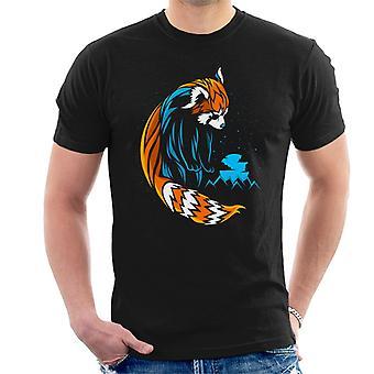 Roter Panda Linien blau Herren T-Shirt