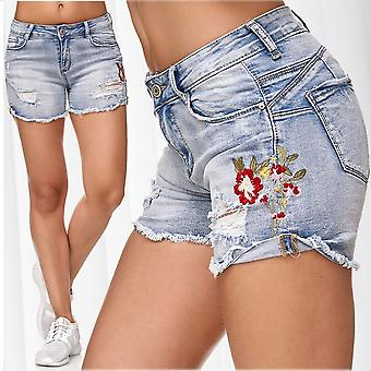 Ladie's Jeans Shorts Hot Pants Ripped Flowers Floral Embroidery Deco Trousers