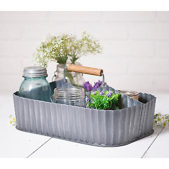 Irvin's Country Tinware Caddy with Middle Divider in Antique Tin