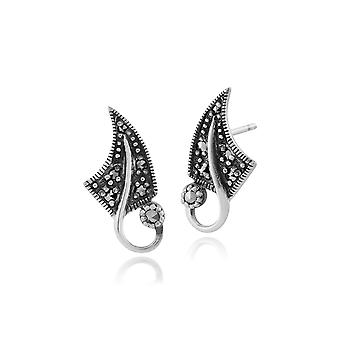 Art Nouveau Style Round Marcasite Leaf Stud Earrings in 925 Sterling Silver 214E831001925