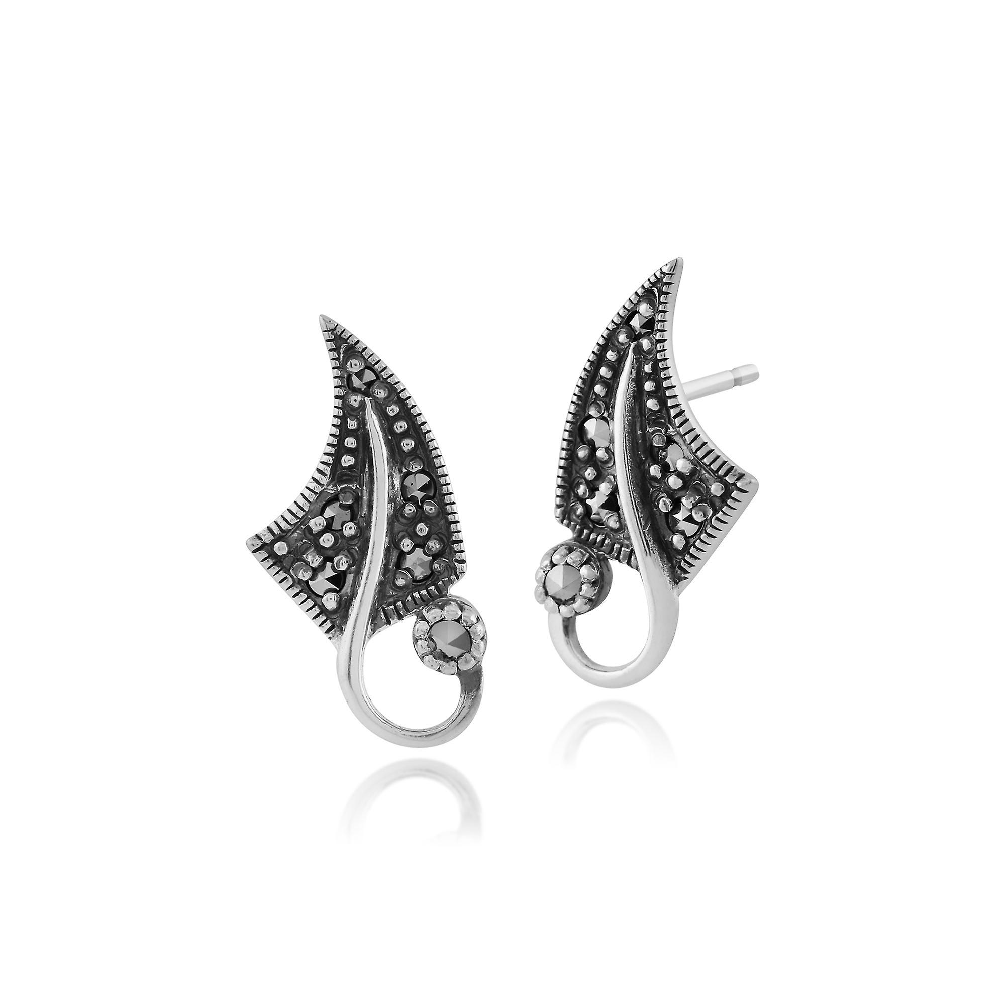 Gemondo Sterling Silver 0.17ct Marcasite Art Nouveau Leaf Design Stud Earrings